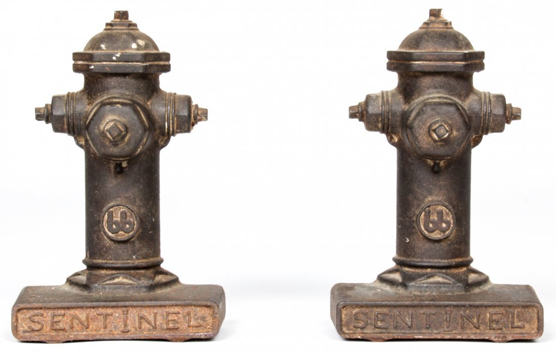 Pair Sentinel Cast Iron Hydrant Form Doorstops