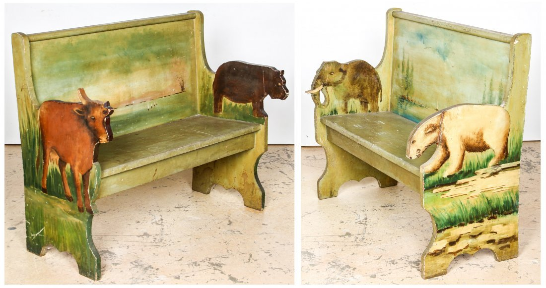 Pair 19th C Carousel Benches