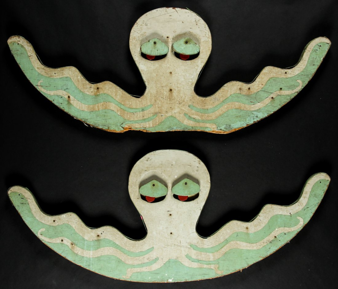 Pair Octopus Midway Ride Fascia Boards, Early/Mid 20th