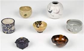 7 Japanese Glazed Earthenware Items