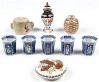 9 Antique Japanese Porcelain and Earthenware Pottery
