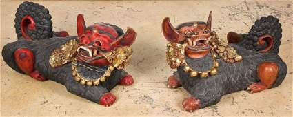 Pair Large Carved Wood Foo Dogs