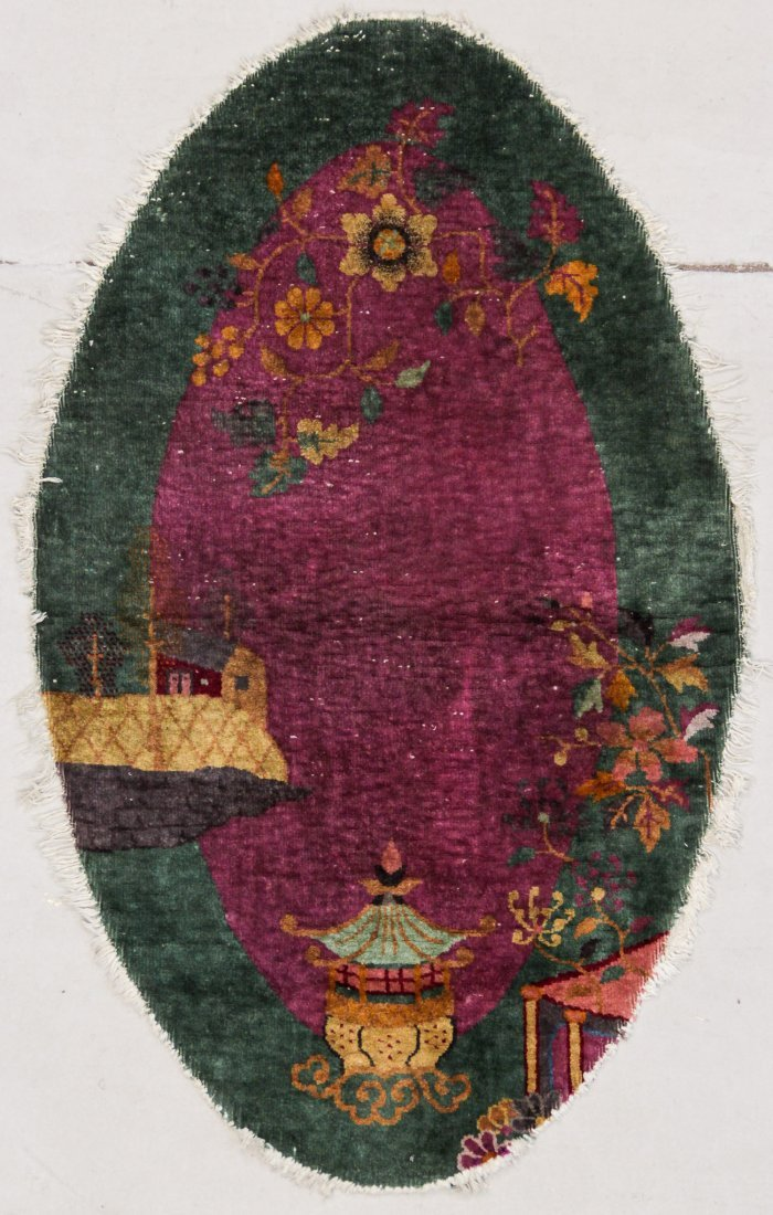 """Chinese Art Deco Oval Rug: 3' x 4'11"""""""