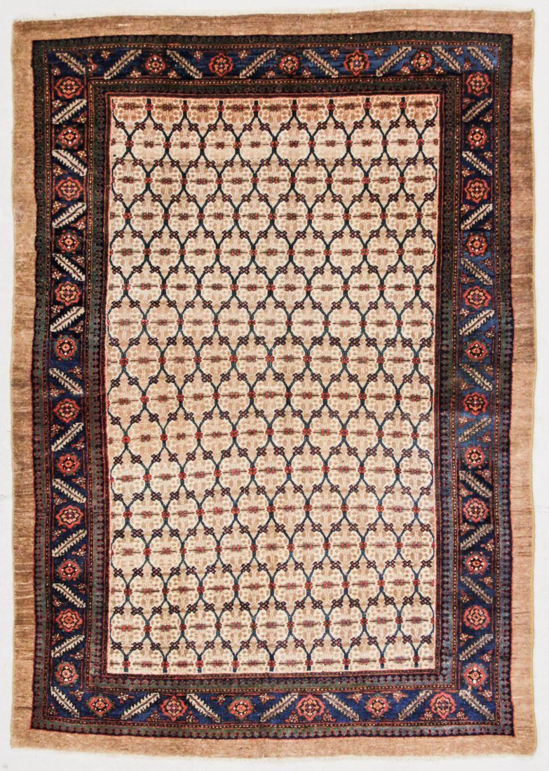 """Antique West Persian Camel Field Rug: 4'7"""" x 6'4"""" (140"""
