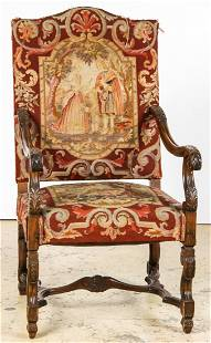Continental Tapestry Throne Chair