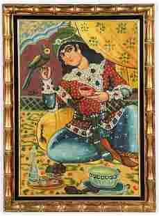 Persian School, Qajar Dynasty Oil Painting