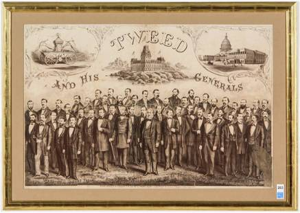 """Rare """"Tweed and His Generals"""" Lithograph, 1871"""
