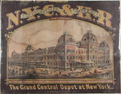 N.Y.C. & H.R. Railroad Lithograph of The Grand Central