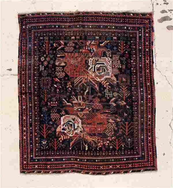 "Antique Afshar Rug: 5' x 5'10"" (152 x 178 cm)."