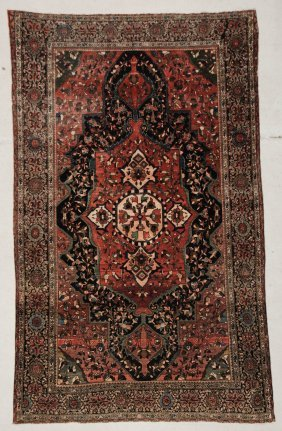 "Antique Sarouk Ferahan Rug: 4' X 6'5"" (122 X 196 Cm)"