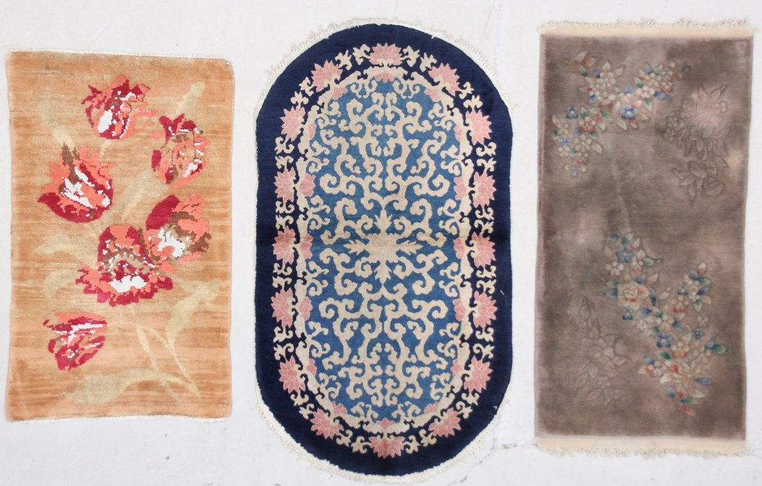 3 Chinese Art Deco Scatter Rugs
