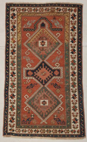 "Antique Kazak Prayer Rug. 3'9"" X 6' (114 X 193 Cm)"
