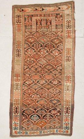 "Antique Shirvan Prayer Rug: 3'8"" X 7'5"" (112 X 226 Cm)"