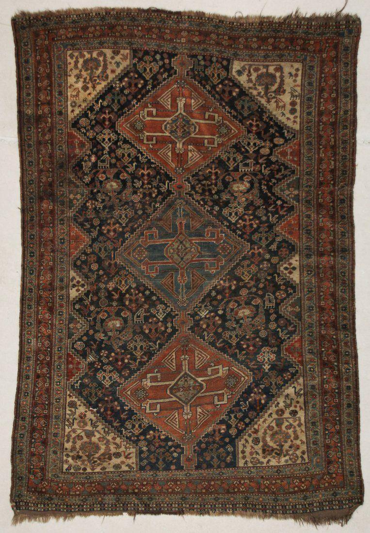 """Antique Gashgai Rug: 4'8"""" x 7' (142 x 213 cm)"""