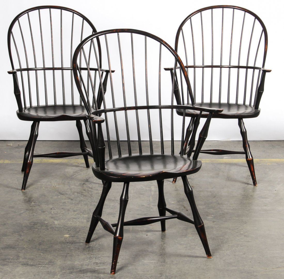 & 3 Stamped DR Dimes Replica Bowback Windsor Chairs