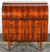 Mid Century Modern Danish Rosewood Cylinder Desk