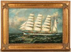 Painting of a Sailing Ship, signed J. Clark