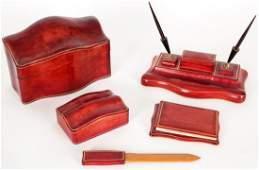 Italian Cartier Style Leather Clad Desk Set.