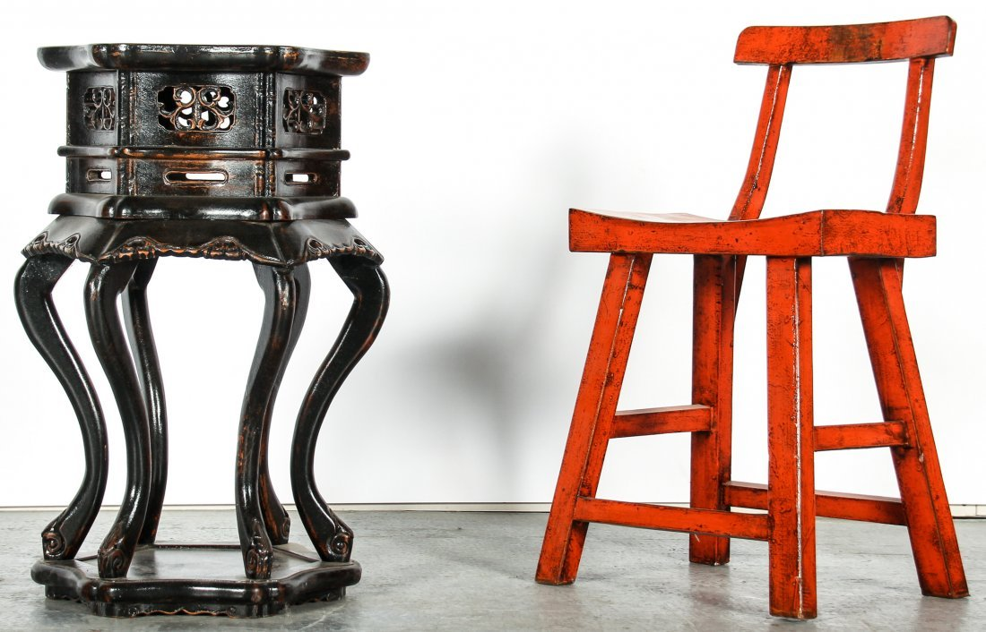 Chinese Red Lacquer Wood Chair and Side Table