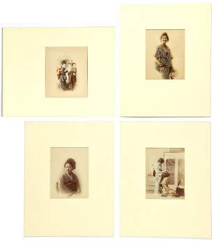 4 Japanese Meiji Period Hand Colored Photographic