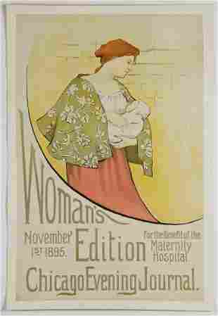 19th C Chicago Evening Journal Benefit Campaign Poster