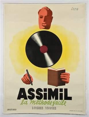 Original Paul Colin Assimil Advertising Poster