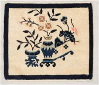 """Antique Chinese Small Rug: 1'9"""" x 2' (53 x 61 cm)"""