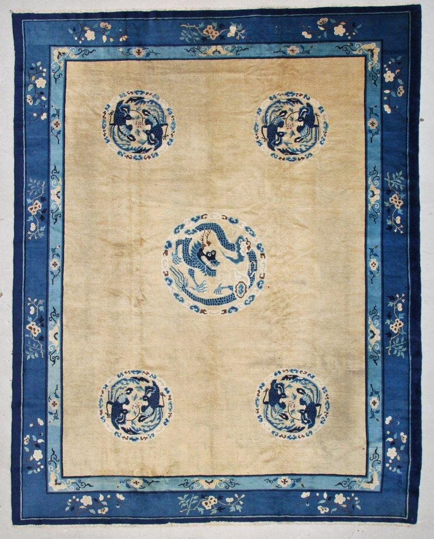 "Antique Chinese Dragon Rug: 9'3"" x 11'8"" (282 x 356 cm)"