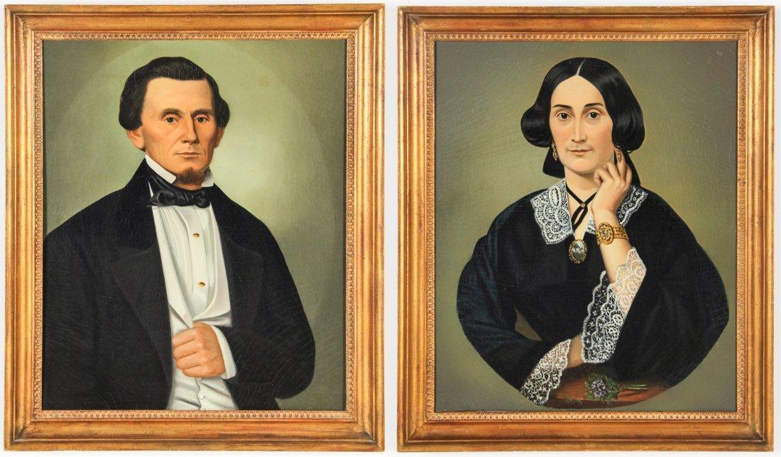 Pair Antique American Male/Female Portraits