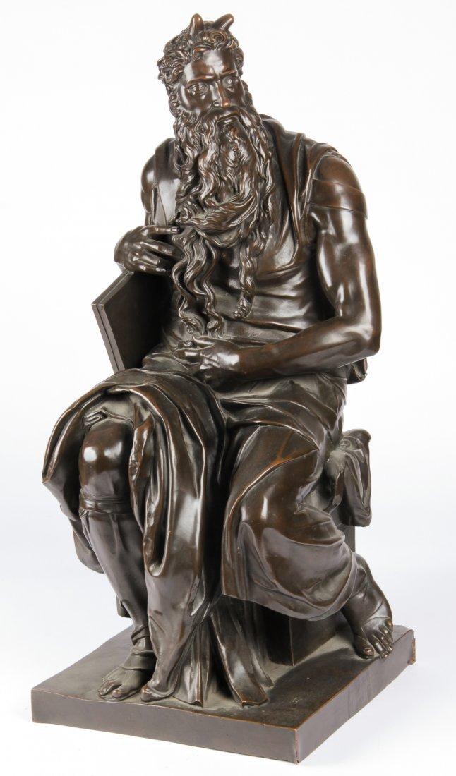 "Large 37"" High Bronze Moses Sculpture"
