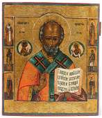 Antique Russian Icon 19th c St Nicholas