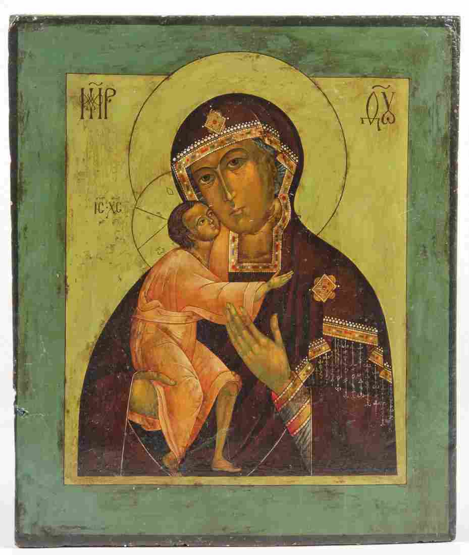 Antique Russian Icon, Mother of God Vladimirskaya