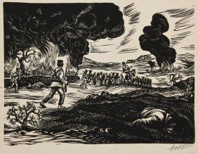Alberto Beltran (mexican, B. 1923) Battle Scene