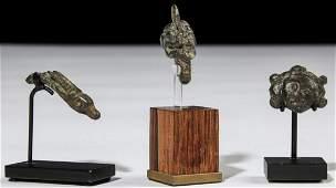 3 Ancient Figural Bronze Artifacts