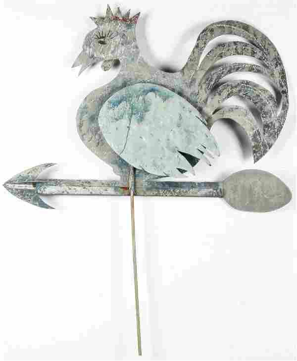 Large Folk Art Rooster Form Weathervane
