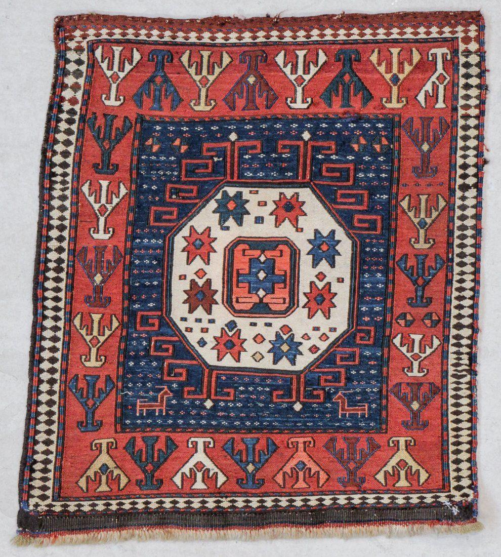 """Antique Shahsavan Sumakh Bagface: 1'10"""" x 2'1"""" (56 x 64"""