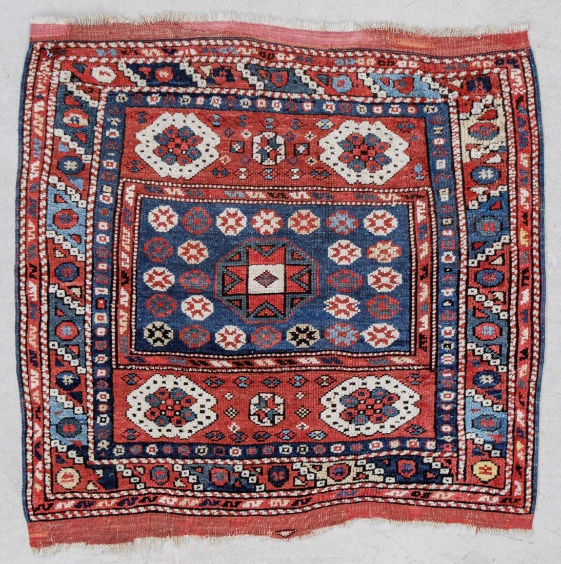 """Antique Turkish Bergama Rug: 3' x 2'9"""" (91 x 84 cm)"""