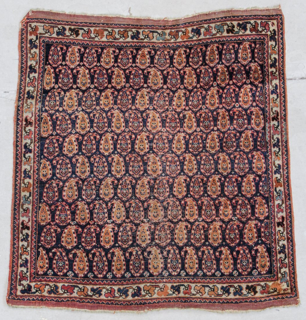 "Antique Afshar Rug: 3'5"" x 3'7"" (104 x 109 cm)"