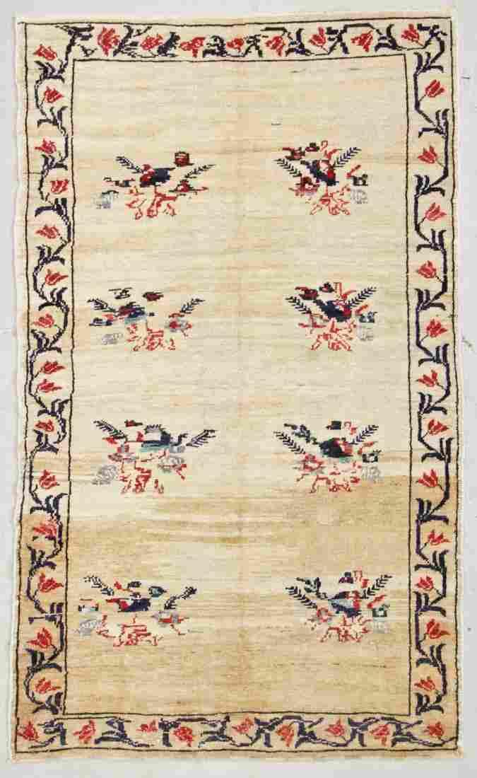 """Semi-Antique Turkish Village Rug: 4'8"""" x 7'10"""" (142 x"""