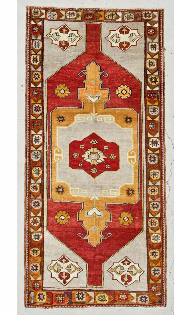 "Semi-Antique Turkish Village Rug: 4'8"" x 10'1"" (142 x"