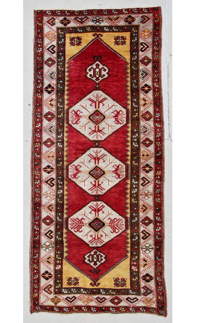 """Semi-Antique Turkish Village Rug: 4'4"""" x 9'9"""" (132 x"""