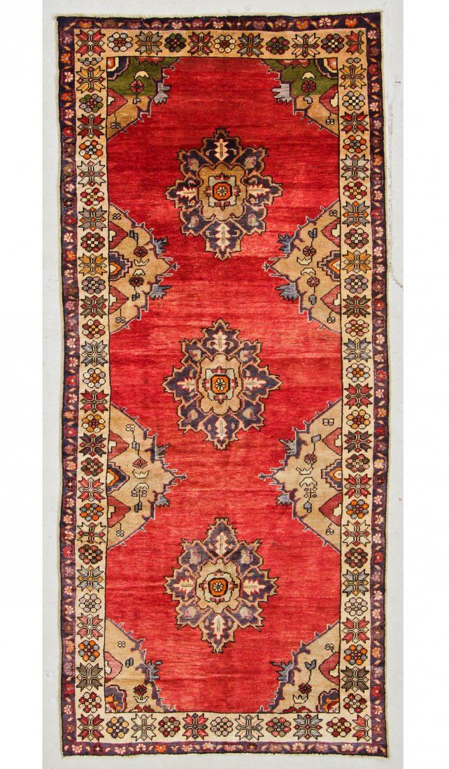 "Semi-Antique Turkish Village Rug: 4'8"" x 10'5"" (142 x"