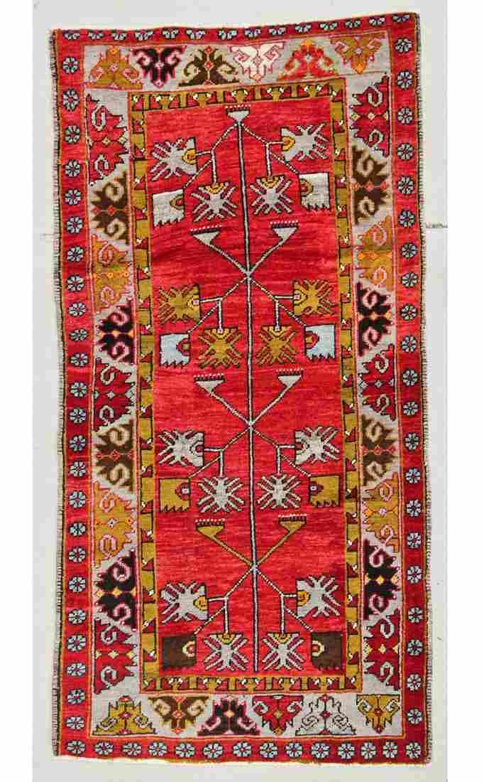 """Semi-Antique Turkish Village Rug: 3'3"""" x 6'5"""" (99 x 196"""