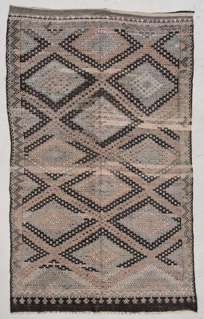 "Semi-Antique Turkish Djidjim Rug: 6'10"" x 11'2"" (208 x"