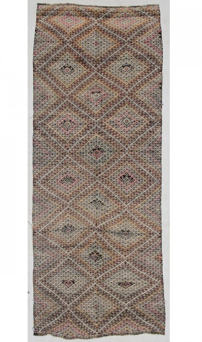 "Semi-Antique Turkish Djidjim Rug: 4'10"" x 12'2"" (147 x"