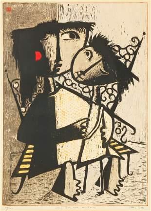 "Angel Botello (Puerto Rican, 1913-1986) ""Sentada con"