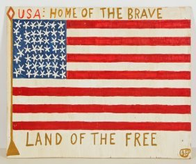 """B.f. Perkins (1904-1993) """"usa: Home Of The Brave, Land"""