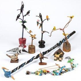 10 Folk Art Bird Theme Sculptures