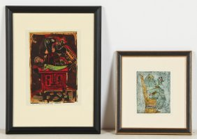 A.p. Hankins (1903-1963) 2 Monoprints