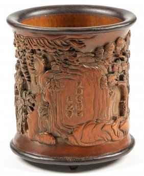 Antique Chinese Carved Bamboo Pen Holder